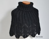 Black lace knitted capelet, N341