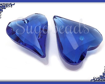 2 Royal Blue Faceted Crystal Heart Pendant Beads 21mm