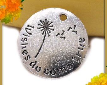 3 Stamped Wishes Do Come True with Dandelion Pendants or Charms Antiqued Silver 20mm PS88