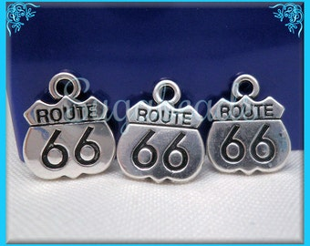 6 Silver Route 66 Charms 16mm PS170