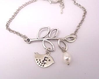 Personalized Branch Bracelet,  Bird  Bracelet, Pearl Jewelry,  Monogram, Pearl Bracelet