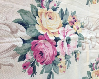 Cabbage Roses, Scrolls, Peonies Vintage Barkcloth Bark Cloth Cream background cotton twill fabric drapery piece Shabby pink, cottage yellow