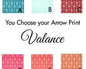 """Custom Color and White Arrow Valance - 50"""" x 16"""" - Premier Prints Duck Fabric - Teal, Mint, Red, Pink, Orange"""