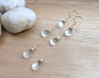 Prasiolite Long Earrings 14kt Gold Fill Chain Earrings Long Gemstone Earrings Green Amethyst Bridesmaid Earrings Bridal - Sprinkling