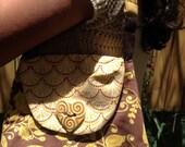 Golden Sunshine Fashionable Mini Bag with Heart Shaped Golden Ceramic Button