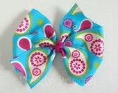 Paisley Bow - Glitter Pinwheel - No Slip Velvet Grip Hair Clip