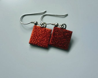 Red Square Dichroic Glass Earrings, Jewelry, Accessories (LVE181)