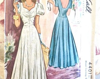 Vintage 1940s Womens Evening Dress Pattern with Gathered Bodice and Flare - McCall 4401