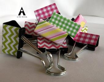 "Binder Clips - ""Pinks & Greens"" 12 medium binder clips"