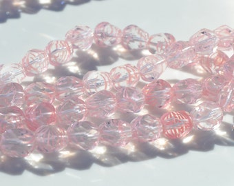 Pale PInk and Clear Strip 10mm Nugget Czech GLass Beads  25