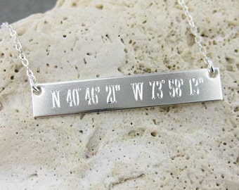 Latitude Longitude Sterling Silver Necklace | Personalized | Sterling Silver.  (NN085)