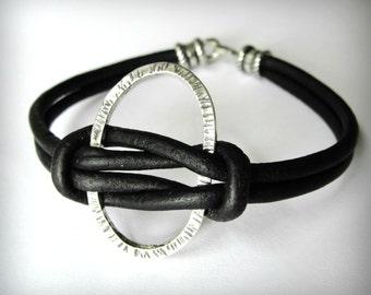 Knotted Leather Bracelet Black Leather Sterling Silver Oval Bracelet Harmony Friendship Bracelet