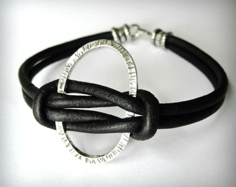 Knotted Leather Bracelet, Black Leather, Sterling Silver Oval Bracelet, Harmony, Friendship Bracelet, Christmas gift, gift for woman