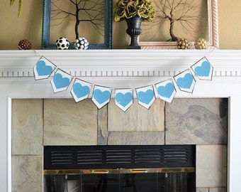Wedding party pennant banner, ALL TURQUOISE HEARTS, rustic celebration decor decorations