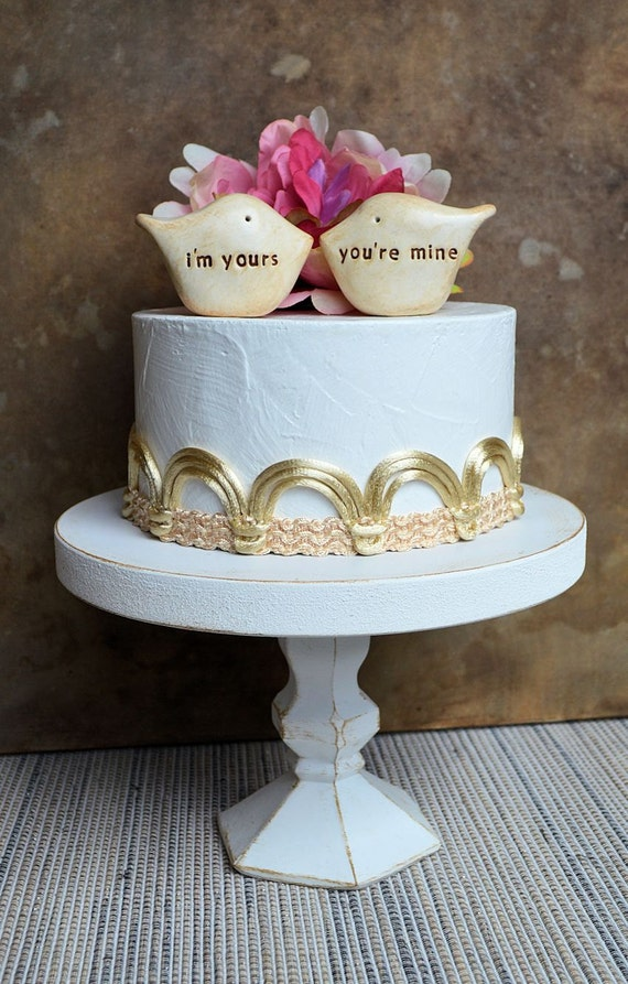 Wedding cake topper...Love birds... i'm yours, you're mine ... perfect for a rustic wedding