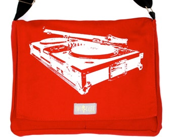 RED Turntable MESSENGER Book Laptop Diaper Bag