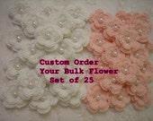 Custom Crochet Double Layered Flowers Bulk set of 25 Design your Own Bulk Set