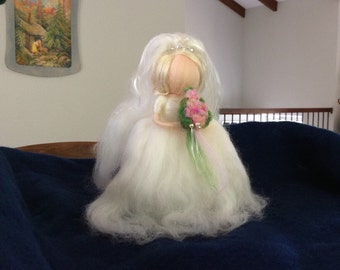 Waldorf needle felted bride figure - great shower gift!