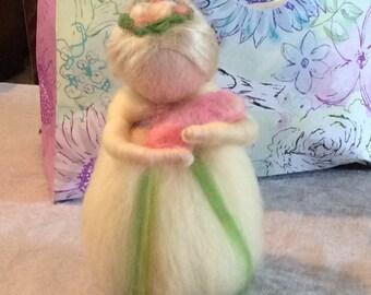 Waldorf mother and baby needle felted wool figure