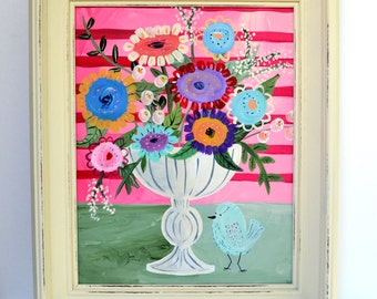 Floral in Vase with Bird 11 x 14 Original Painting on Canvas in Frame
