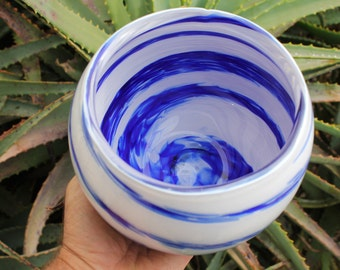 Glass Bowl -  Blue and White - Hand Blown