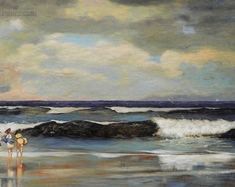 On the Beach, Long Branch, New Jersey - Winslow Homer high quality hand-painted oil painting reproduction (24 x 40 in.)