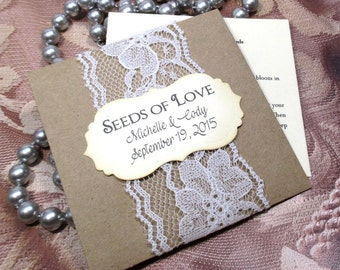 Wedding Favors - Wildflower Seeds - Lace - Personalized - 20 Seed Packets - Seeds of love