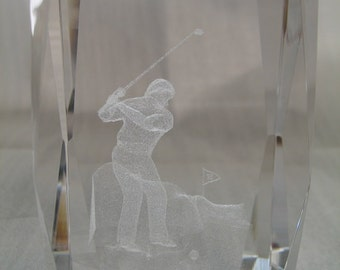 Laser Crystal Golf Figure Paper Weight