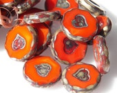Czech Orange Coral with Silver Picasso Heart Round Flat Glass Coin Beads 21mm (1) 0093