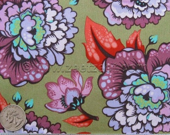 Free Spirit ASTRAEA Plum - Floral - Tula Pink Elizabeth - Cotton Quilt Fabric by the Yard, Half Yard, or Fat Quarter Olive Green Tomato