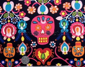 "CALAVERAS DEL MAR Black Bright Multi Alexander Henry Quilt Fabric by the Yard, Half Yard, or Fat Quarter Fq Skeleton ""Day of the Dead"""