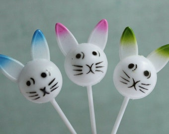 NEW! Set of 6 Vintage Style Easter Bunny Party Picks - Retro Cupcake Topper Springtime Baby Novelty Picks - Party Shower Favors