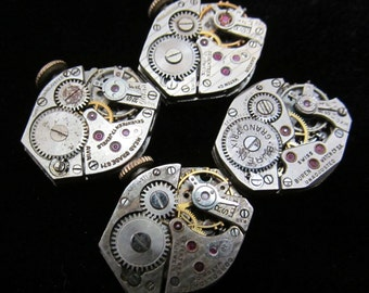 4 Vintage Watch Movements Parts Steampunk Altered Art Assemblage N 6