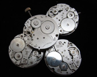 Vintage Antique Round Watch Movements Steampunk Altered Art Assemblage N 76