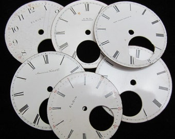 Steampunk Watch Dials Vintage Antique Faces Parts Enamel Porcelain Metal Mixed Media   GB 85