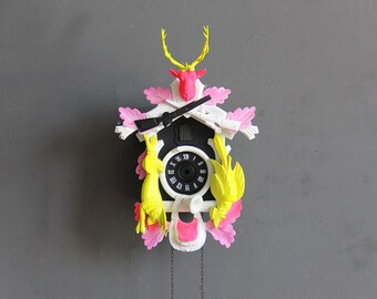 Neon Pink, Yellow & Black Cuckoo Clock. Working Condition.