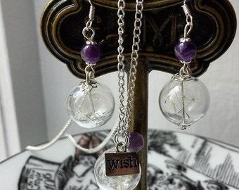 Dandelion earrings, gemstone Sterling silver earrings seed wish, your choice of gemstone amethyst rose quartz etc