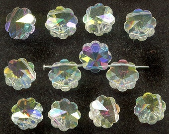 Vintage Swarovski 10mm Margarita Beads, Art. 5110, Top Drill Crystal AB, 12 Pcs.