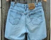 "Vintage Denim Shorts  //  Vtg 80s 90s LEVI'S  Made in the USA 950 High Waist Distressed Faded Stone Wash Indigo Shorts  //  30"" waist"