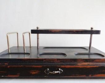 Black Valet Desk or Dresser Organizer with Drawer