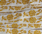 Italy 2 Yards Vintage Cotton Edging Embroidered Folkloric Fabric Sewing Trim Roses  FL-12