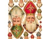 Germany Paper Scraps Lithographed Die Cut Victorian Santa Christmas Saint Nicholas  7410