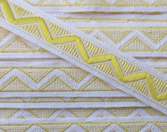 Italy 2 Yards Vintage Cotton Edging Embroidered Folkloric Fabric Sewing Trim Chevron Reversible  FL-6