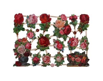 Germany Lithographed  Die Cut Paper Roses Victorian Flower Scraps  7330
