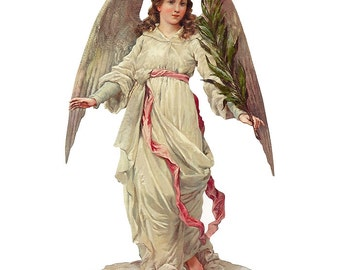 Victorian Angel Scrap Made In Germany Large Lithograph Die Cut Christmas Or Easter  5108