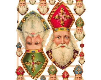 Germany Paper Scraps Lithographed Die Cut Victorian Santa Claus Christmas 7410
