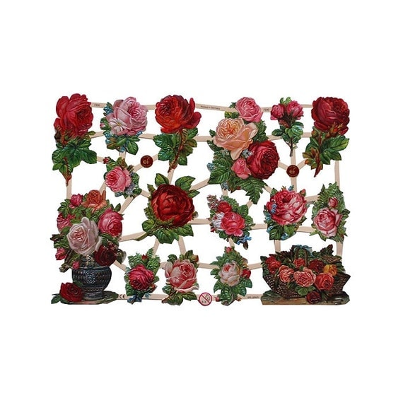 Made In Germany Lithographed  Die Cut Paper Roses Victorian Flower Scraps  7330