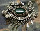 Hypnotic Vintage BLOODSTONE BoHo Tribal SLIVER Evil EYE Brooch Pin Dangles Cannetille with Mechanical Moveable Mechanical Eyelashes!