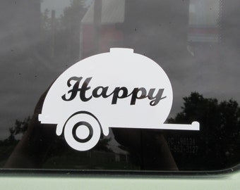 Happy camper car vinyl car window decal - Teardrop camping trailer - Teardrop trailer - tear drop trailer - camping gear - camping - camp