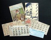 6 Small vintage grungy ephemera lot Baking soda pamphlet boy scout song book calendars for your art projects